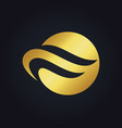 Round wave abstract gold logo