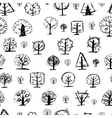 Seamless pattern doodle trees for your design vector image vector image