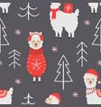 seamless pattern with christmas llama vector image vector image