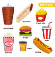 set of colorful cartoon fast food vector image vector image