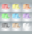 set of glass cubes colored glass vector image