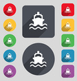 ship icon sign A set of 12 colored buttons and a vector image