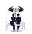 silhouettes of couple under umbrella with heart vector image vector image