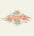 simple ribbon with flowers vector image