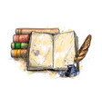 stack of books open book and quill pen vector image vector image