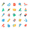 stationery icons office supply tools vector image