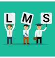Three businessmen set with LMS letters vector image vector image