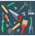 Tools hammer saw screwdriver spatula brush vector image