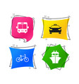 transport icons taxi car bicycle bus and ship vector image vector image