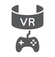 vr gaming glyph icon device and entertainment vector image vector image