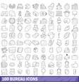 100 bureau icons set outline style vector image vector image
