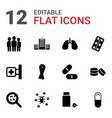 12 illness icons vector image vector image