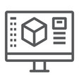 3d design line icon model and computer