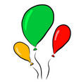 balloons red green yellow on vector image