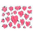 big set cute doodle pink textured hearts vector image vector image
