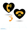 black heart is an telephone communication vector image vector image