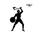 black silhouette knight with axe vector image