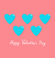 blue heart icon set happy valentines day sign vector image vector image