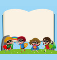 border template with kids playing hero vector image vector image