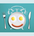breakfast time fried eggs on the plate vector image