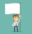 businessman holds white flag of surrender hand vector image vector image