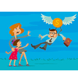 businessman leaves his family vector image vector image