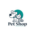 cat and dog pet shop with blue circle shape vector image
