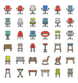 chair stool armchair and bench filled outline vector image