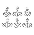 coffee beans line icons set vector image