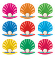 colorful set pearl in a shell icons vector image vector image