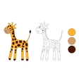 Coloring page Little cute giraffe isolated on vector image