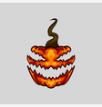 creepy face halloween pumpkin on white background vector image