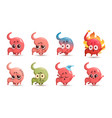 cute stomach character with different emotions vector image