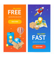 delivery banner vertical set with realistic vector image