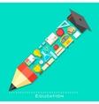 education icon in shape pencil vector image vector image