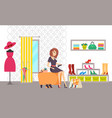 female shopaholic shopping in shoes store vector image vector image