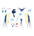 flat video blogging equipment camera photo vector image