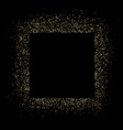 gold square frame and glitter glowing particles vector image