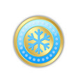 golden circular badge with snowflakes isolated on vector image vector image