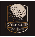 golf ball logo on dark background vector image vector image
