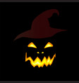 halloween of scary pumpkin jack glowing fac vector image