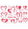 hand drawn hearts symbol of love set vector image