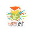 happy teachers day label back to school colorful vector image vector image