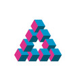impossible triangle in three different colors vector image vector image
