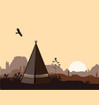 indian wigwam silhouette with cacti mountains and vector image vector image