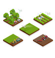 isometric agriculture automatic guided robots vector image vector image