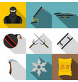 japanese weapon icon set flat style vector image vector image