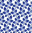 leaves pattern blue and whtie vector image vector image