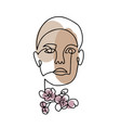 line woman face portrait with spring flowers vector image vector image