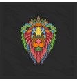 lion head full colour with floral style vector image